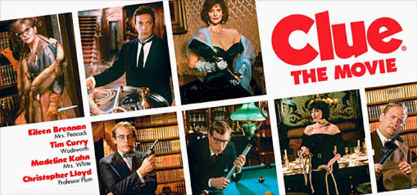 A poster of the movie 'Clue'.