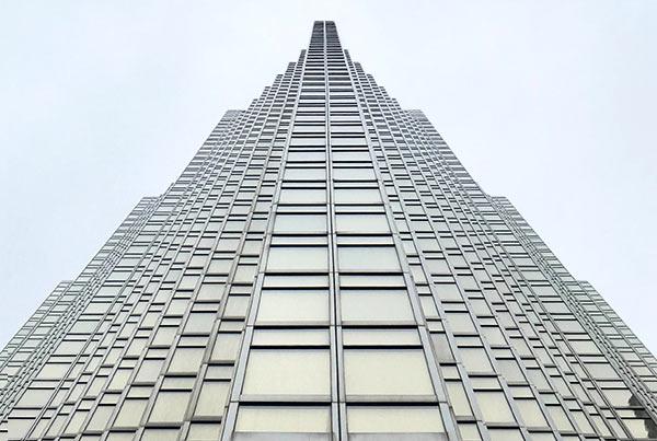 A tall skyscraper (view from below).
