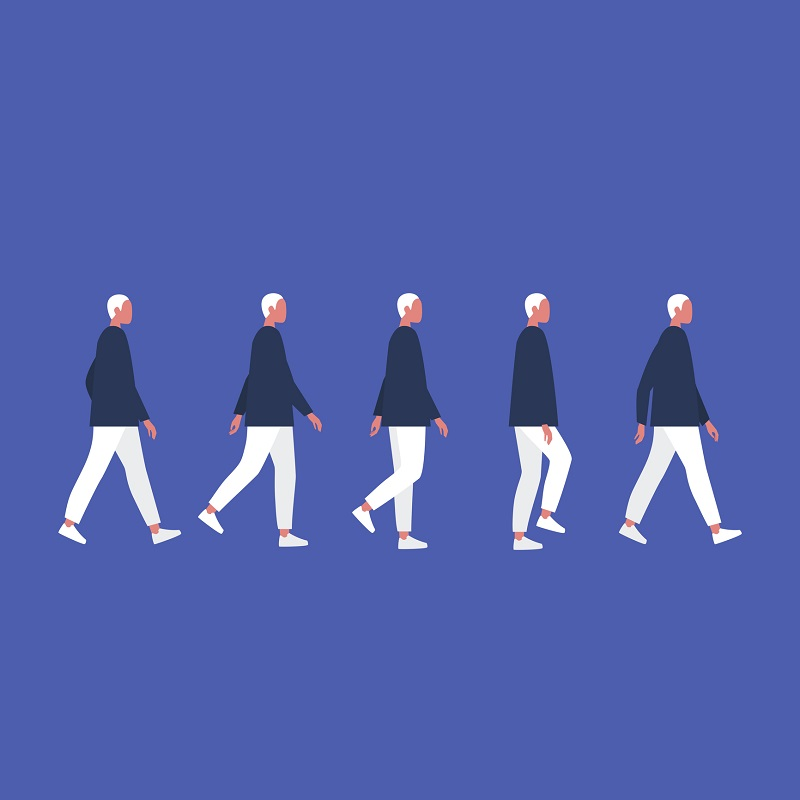 A man walking, replicated by himself five times.