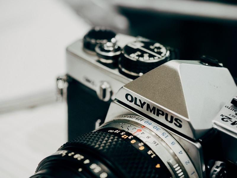 An Olympus camera close-up.