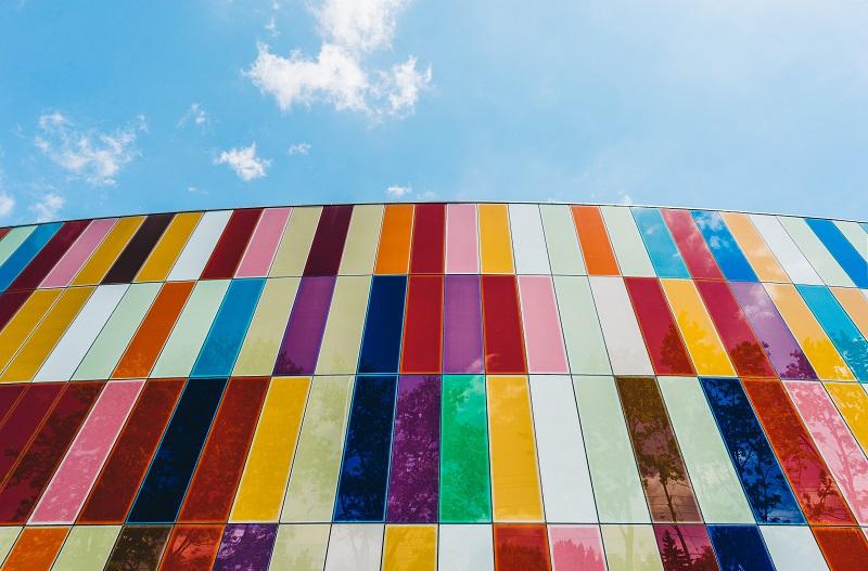 A multi-colored wall.