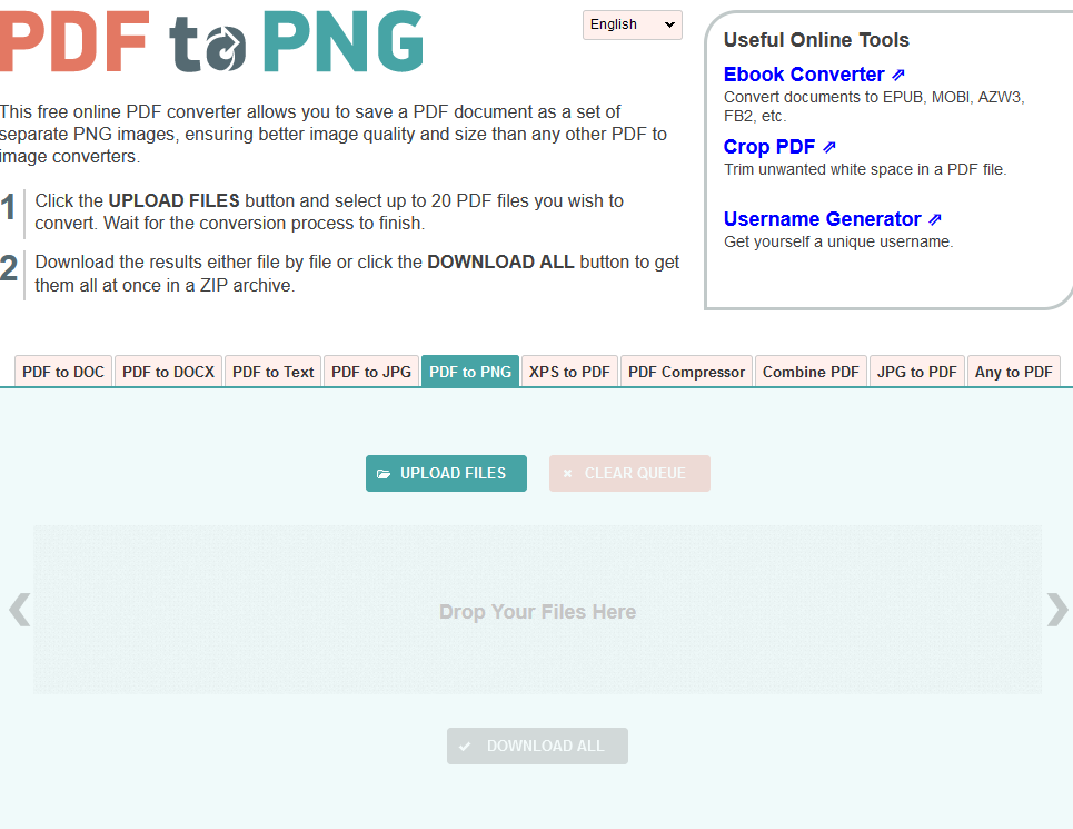 The PDFtoPNG interface.