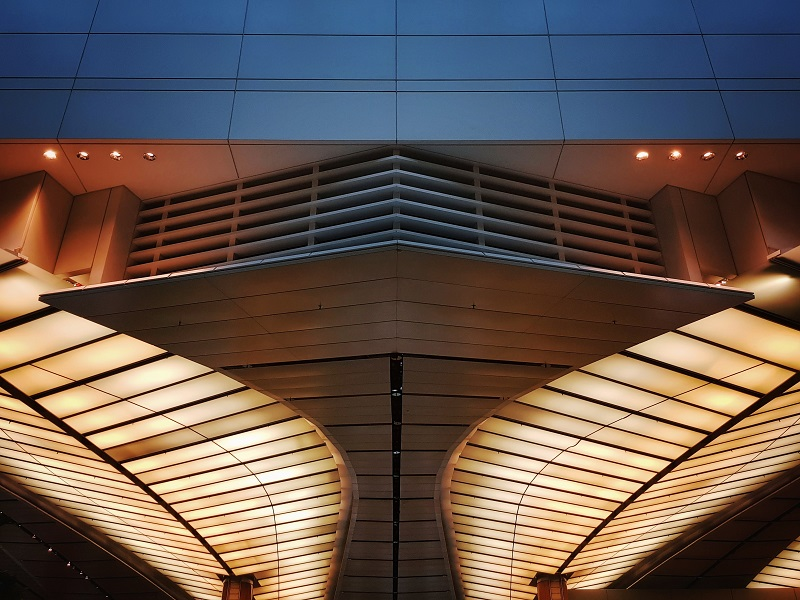 A building with symmetrical lights.