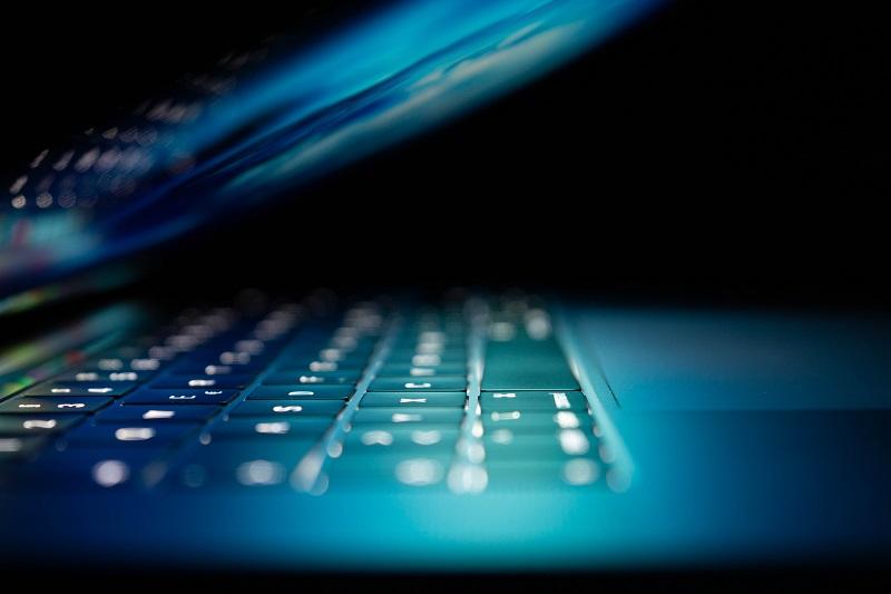A closeup of an open laptop.
