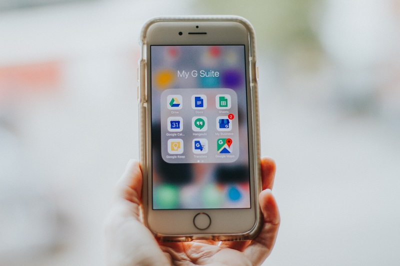 A smart phone using Google Drive.