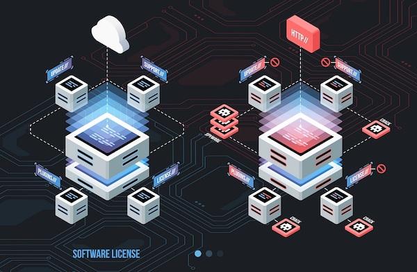 Schematische animierte Darstellung von Software-Lizenzen in der Cloud und auf Webseiten.