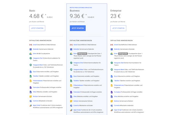 Die Preisübersicht der Google Suite.