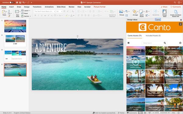 Eine Vorschau auf den Canto Connector für Microsoft PowerPoint im Einsatz.