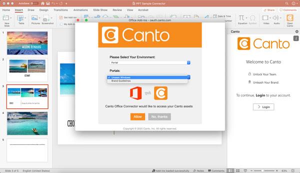 Ein Screenshot zeigt, wie Sie sich mit dem Canto Connector für Microsoft PowerPoint in Ihrem Canto Konto anmelden.
