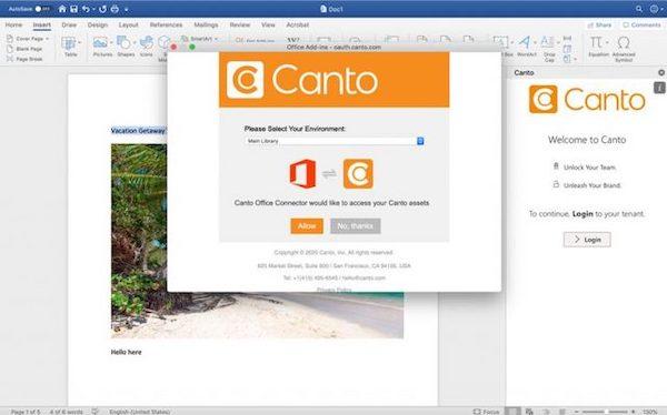 Ein Screenshot zeigt, wie Sie sich mit dem Canto Connector für Microsoft Word in Ihrem Canto Konto anmelden.