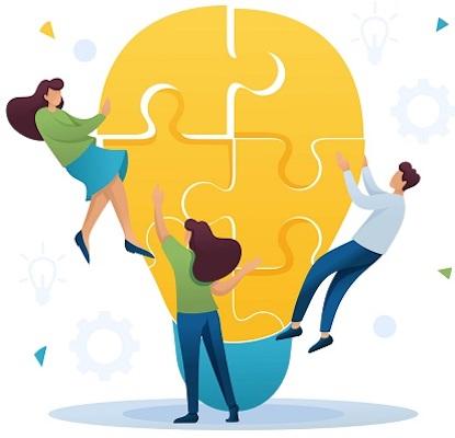 Eine Gruppe von Mitarbeitern im Zeichentrick-Stil tüftelt an einem Puzzle, was symbolisch für die Kreativarbeit steht.