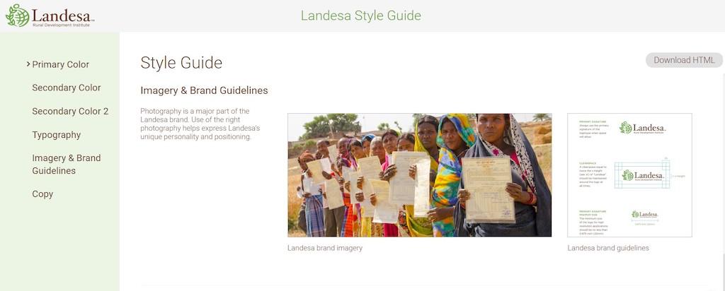 Screenshot of Landesa's styleguide in Canto.