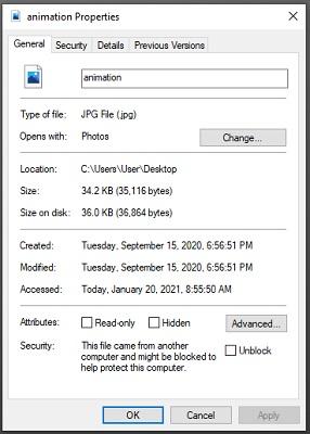 Ein Screenshot der Registerkarte 'Eigenschaften' einer Computerdatei.