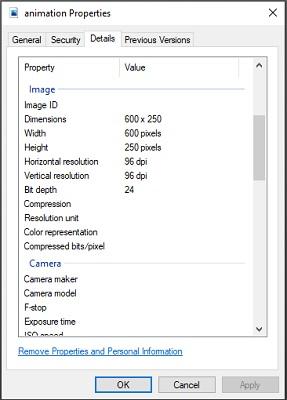 Ein Screenshot der Registerkarte 'Details' einer Computerdatei.