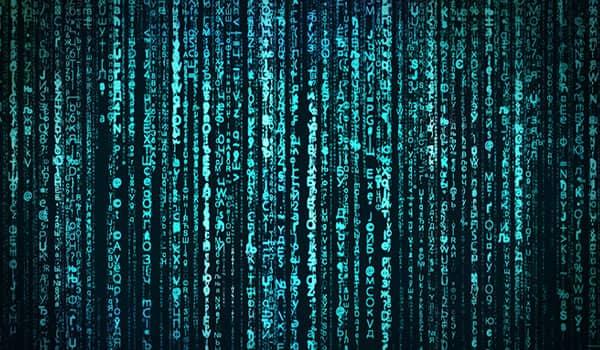 Vertikale Ketten von Zahlen und Daten.