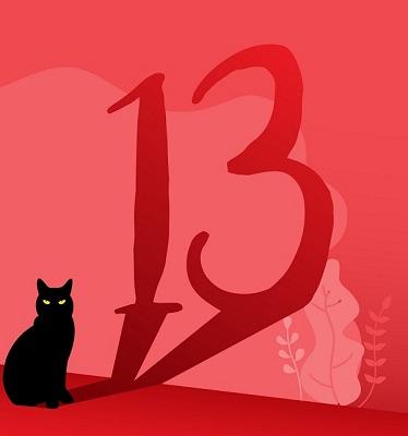 Eine Katze, deren Schatten die Zahl 13 darstellt.