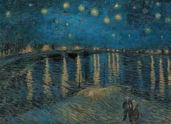 Ein digitalisiertes Van Gogh-Gemälde 'Sternennacht über der Rhone'.