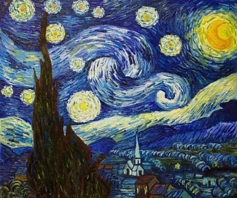 Das berühmtes Gemälde 'Sternennacht' von Van Gogh.