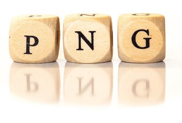 Die Abkürzung PNG, die buchstabenweise mit kleinen Holzklötzchen gebildet wird.