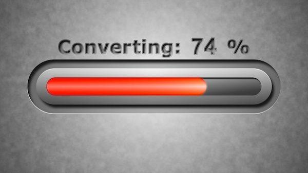 Der Fortschrittsbalken einer digitalen Konvertierung.
