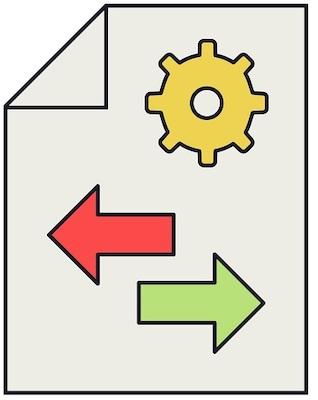 Ein Dateisymbol mit entgegengesetzt gerichteten Pfeilen, das symbolisiert, dass man PNG in EPS konvertieren kann.