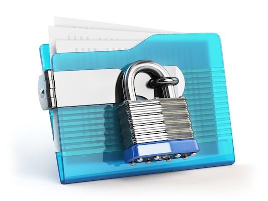 Ein Dateiordner, der mit einem Vorhängeschloss gesichert ist, was symbolisch für sicheres Filesharing steht.