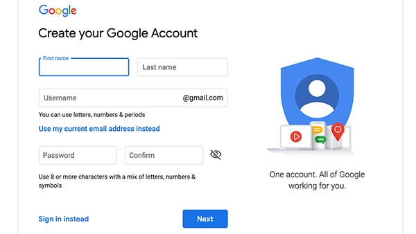 The signup page for Google.