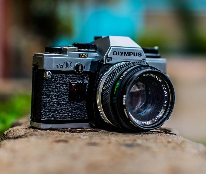 An Olympus camera outdoors.