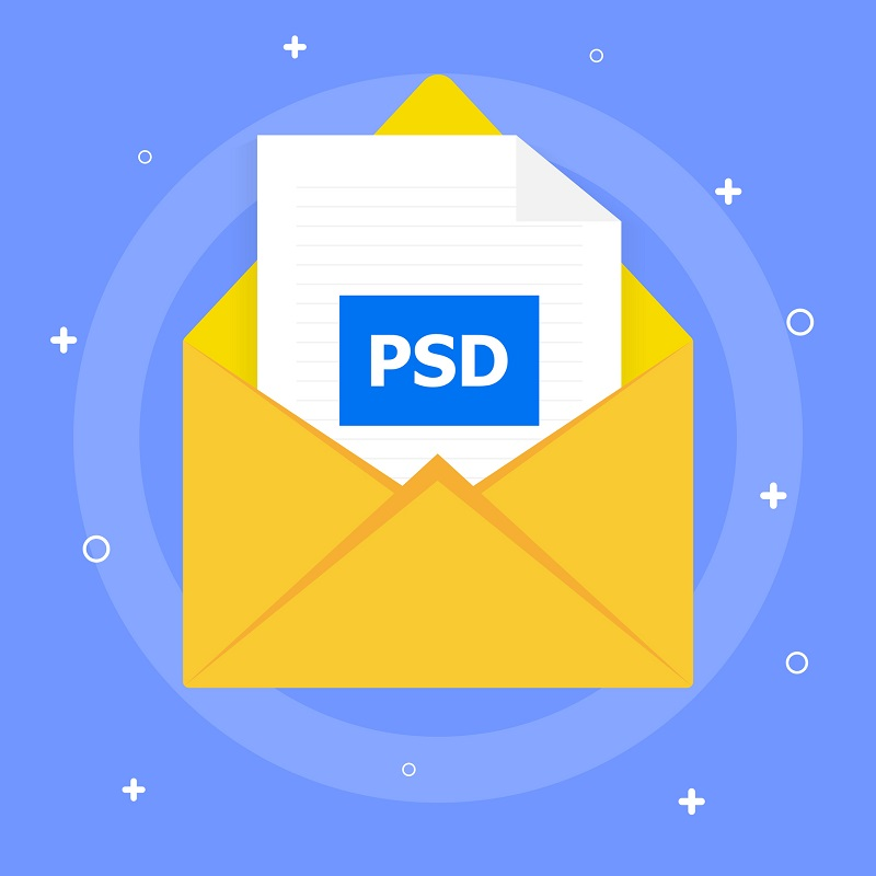 A PSD file icon in an envelope.