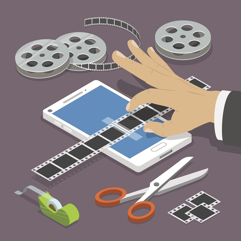A picture of someone editing video files.