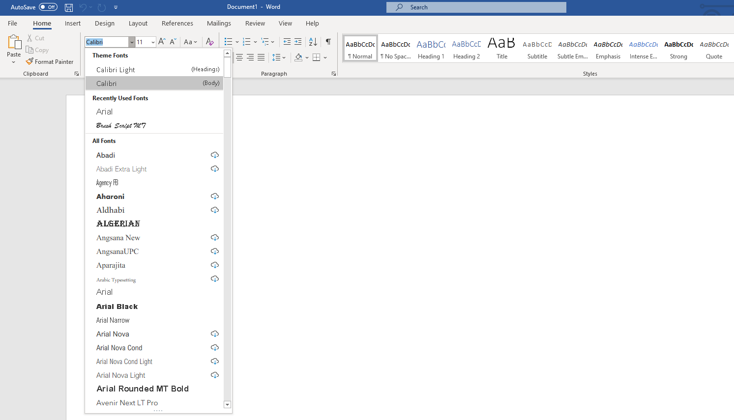 The dropdown menu inside Microsoft Word.