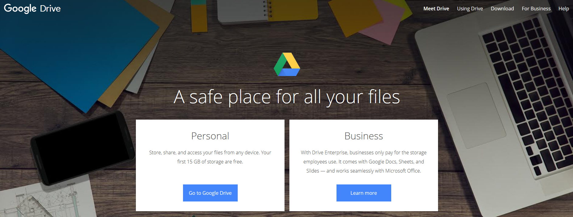 The Google Drive website.