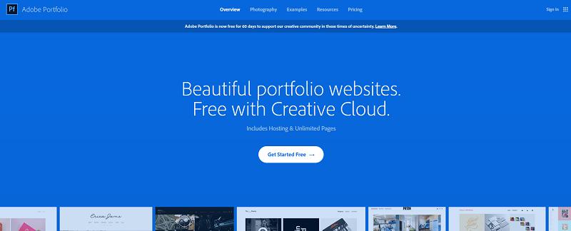 The Adobe Portfolio website.