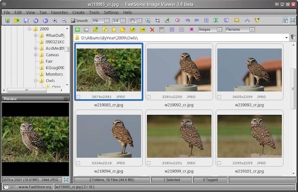 Die Benutzeroberfläche des FastStone Image Viewer.