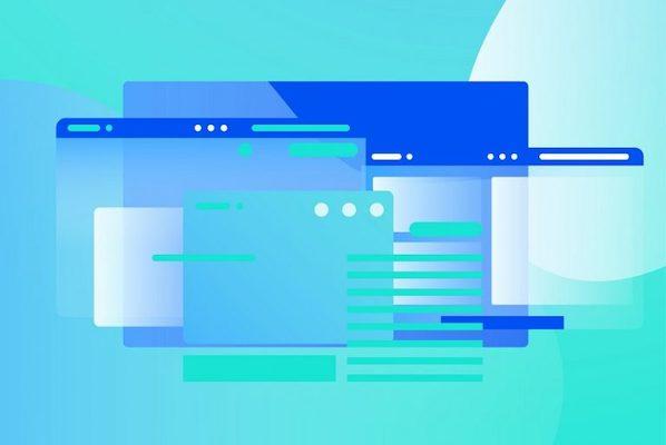 Darstellung eines Webbrowsers in Animationsstil.