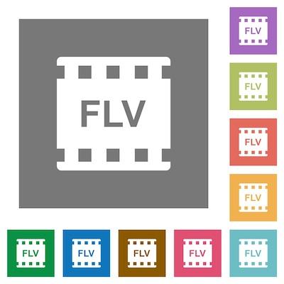 Das Dateisymbol für das FLV-Videoformat in mehrfacher Ausführung.