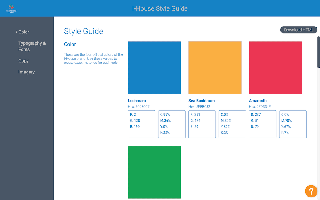 Image of the Style Guide of International House.