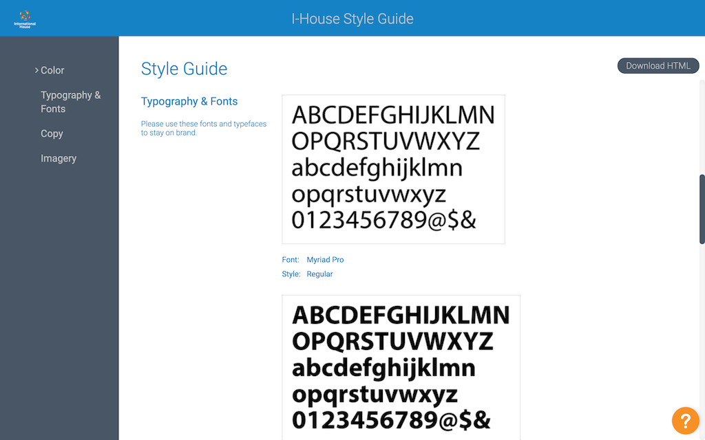 Another image of the Style Guide of International House.