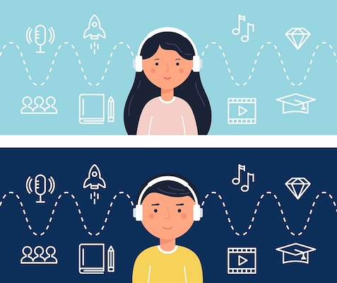 Zwei junge Studenten hören sich einen Podcast an.