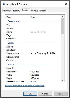 Ein Fenster zeigt die Eigenschaften einer Datei an.