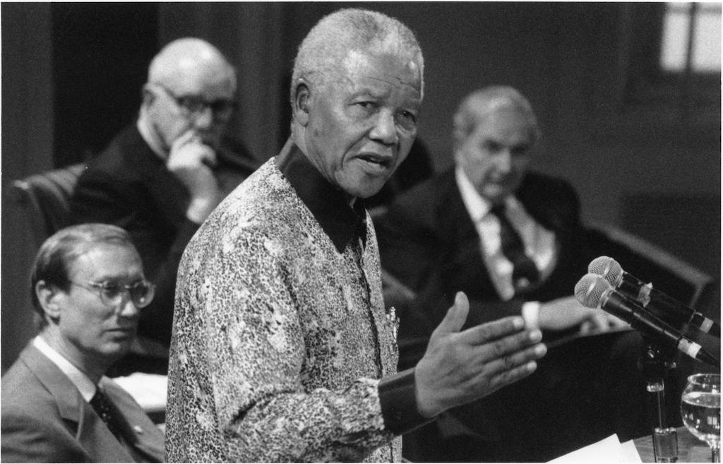 Nelson Mandela speaking at I-House