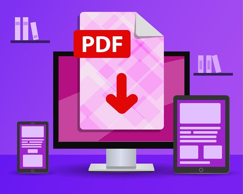 A PDF document file on a desktop computer.