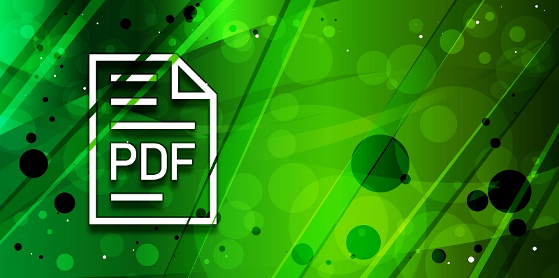 The PDF icon in front of a green background.