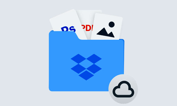 A picture of a Dropbox folder holding software icons.