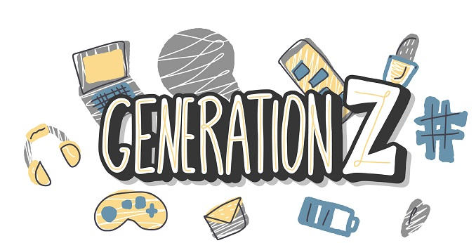 A collage of Generation Z items.