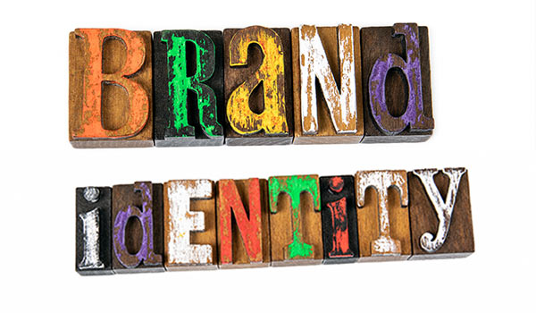Multi-colored text that reads, 'brand identity'.