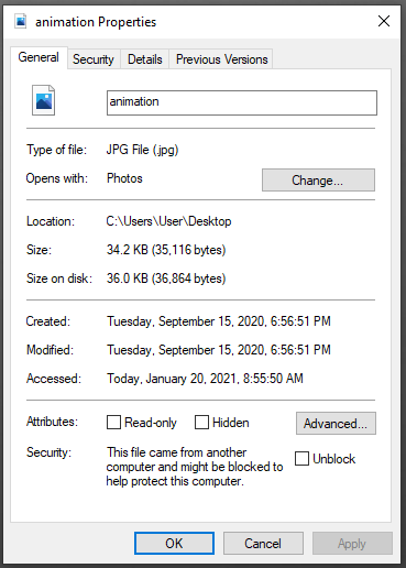 A screenshot of a computer properties tab.