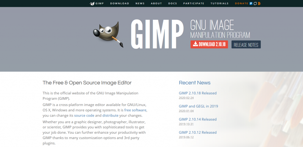 The GIMP website.