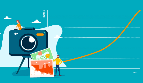 A picture showing the growth of digital photos over time.