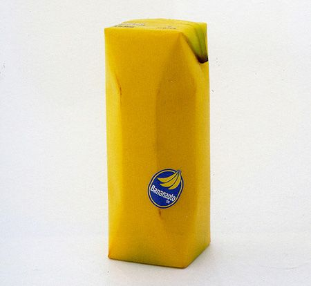 A banana peel-shaped juicebox.